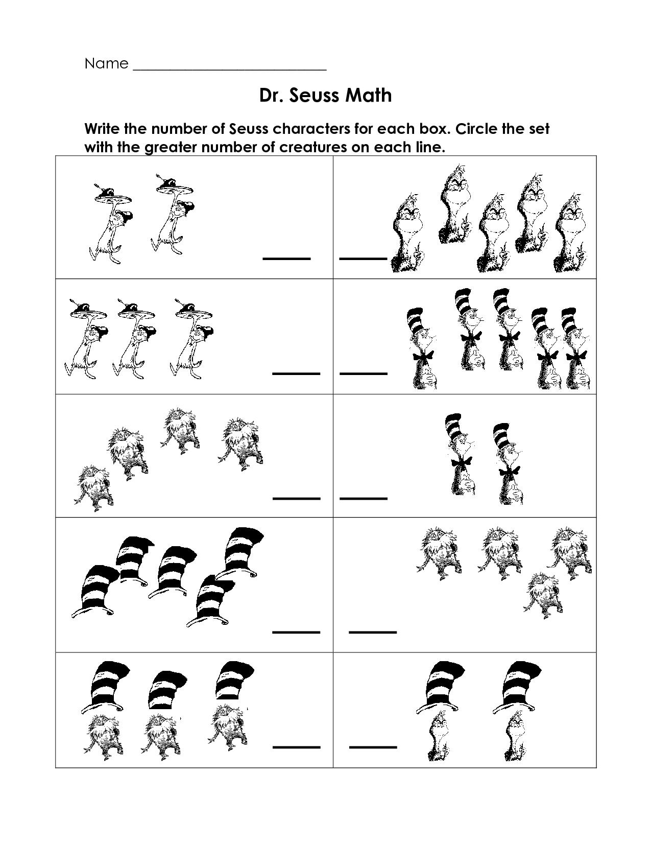 Dr Seuss Free Printable Worksheet For Preschool