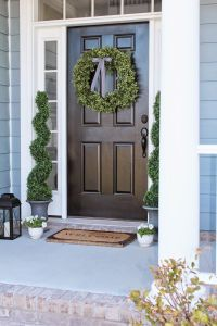 Front Porch Decor and a Little Blue House Boxwood Wreath
