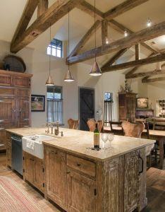 Barndominium interiors kitchen rustic with wood floor strap hinges also rh pinterest