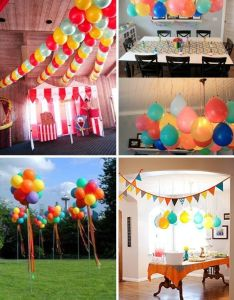 Love the balloons hanging over table great for  first birthday st birthdaybirthday party ideasballoon also vintage circus spaceships and rh pinterest
