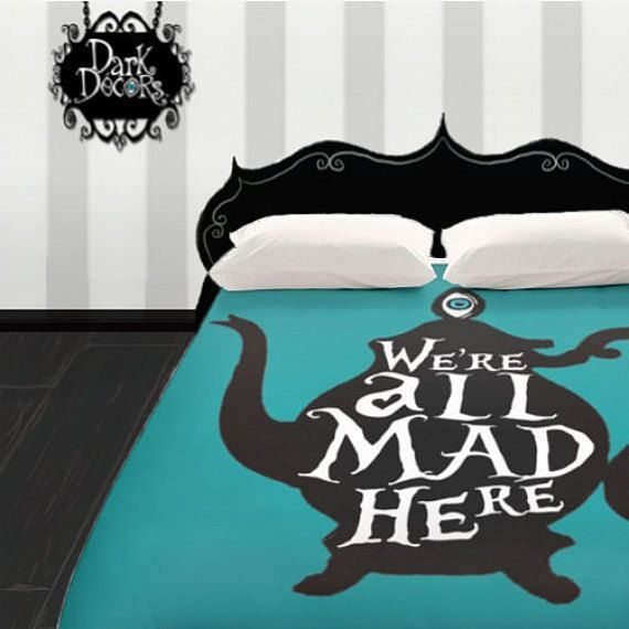 Tim Burton Style Duvet Cover Goth Bedding We Re All Mad Here