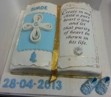 Open Bible Themed Cake For Christening Bible Verse On