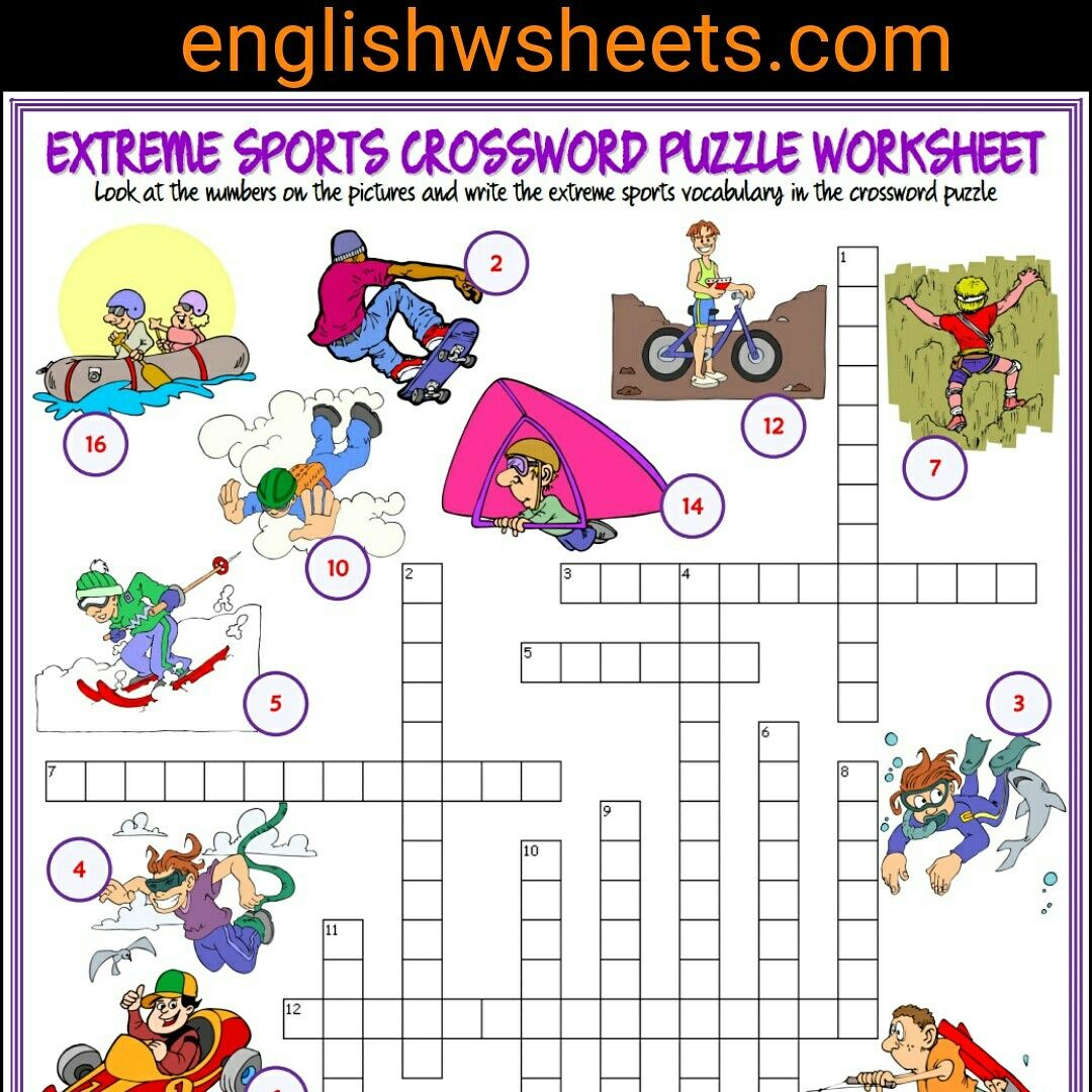 Extreme Sports Esl Printable Crossword Puzzle Worksheet For Kids Extreme Sports Esl