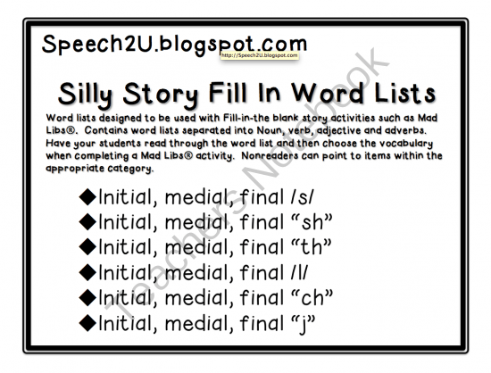 Silly Stories Articulation Carryover: S, L, TH, SH, CH, J