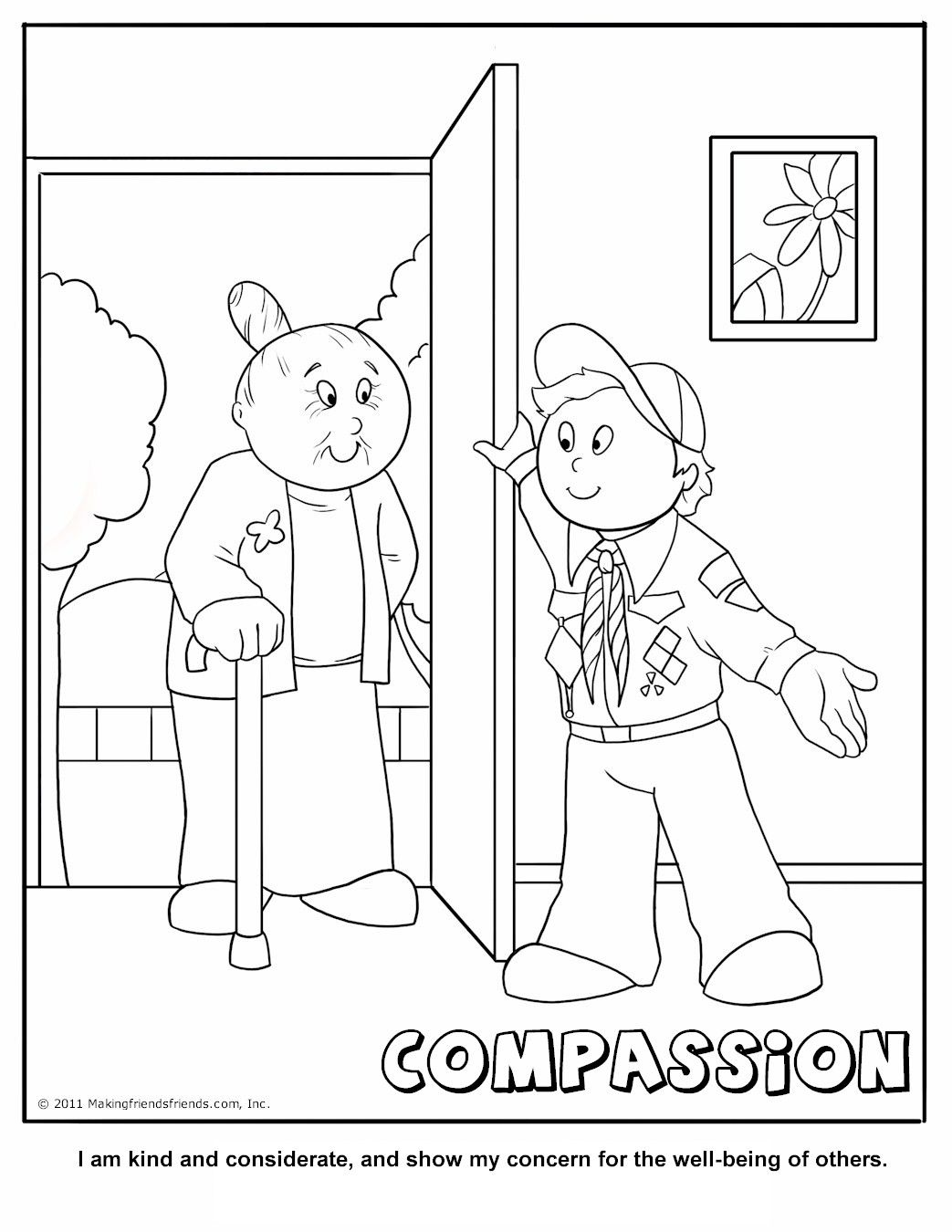Compassion Coloring Page. A Cub Scouting Core Value
