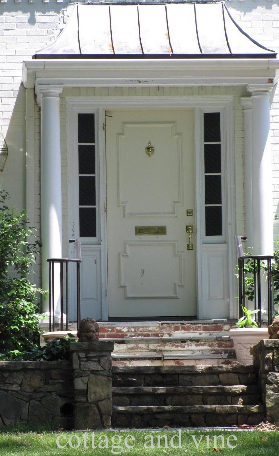 Interior Modern White Front Porch Portico Design Ideas With