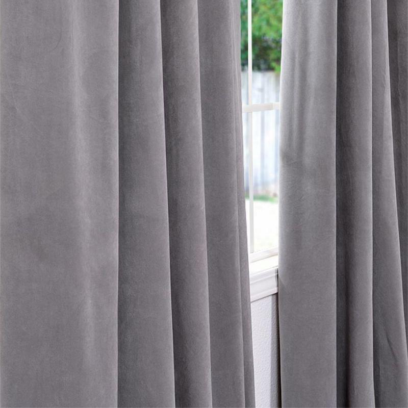 Space Living Silver Grey Velvet Blackout Curtain Panel