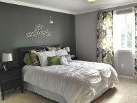 Grey Master Bedroom - dark accent wall, fun patterned ...