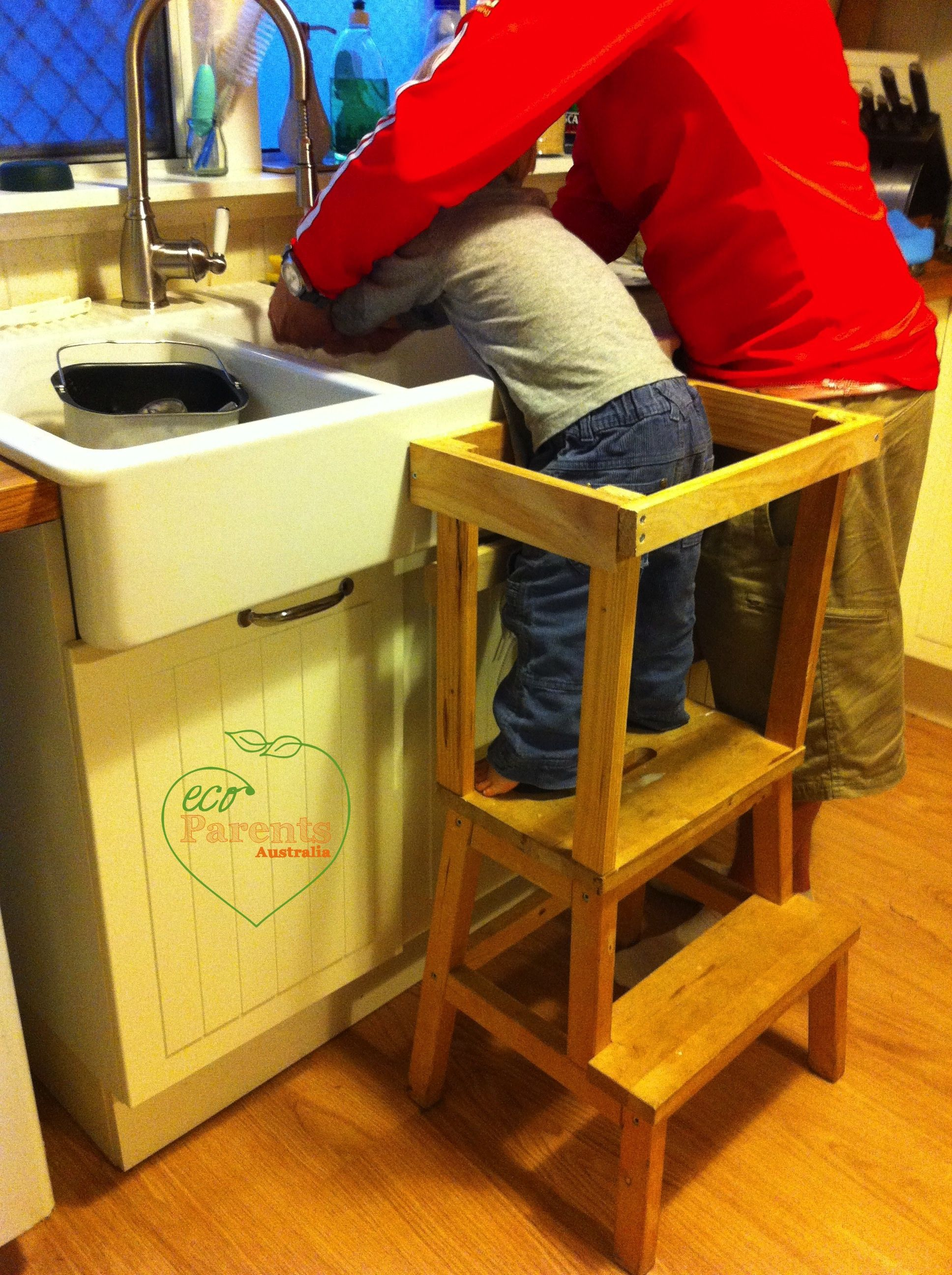 An Ikea stool is easy to convert to a kitchen helper and