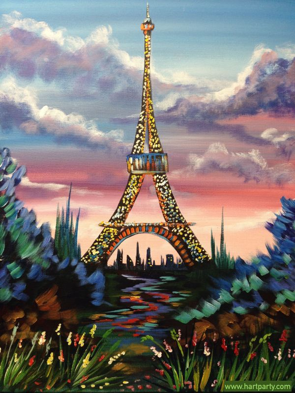 Step Paint Eiffel Tower With Pink Sky And Flowers Art