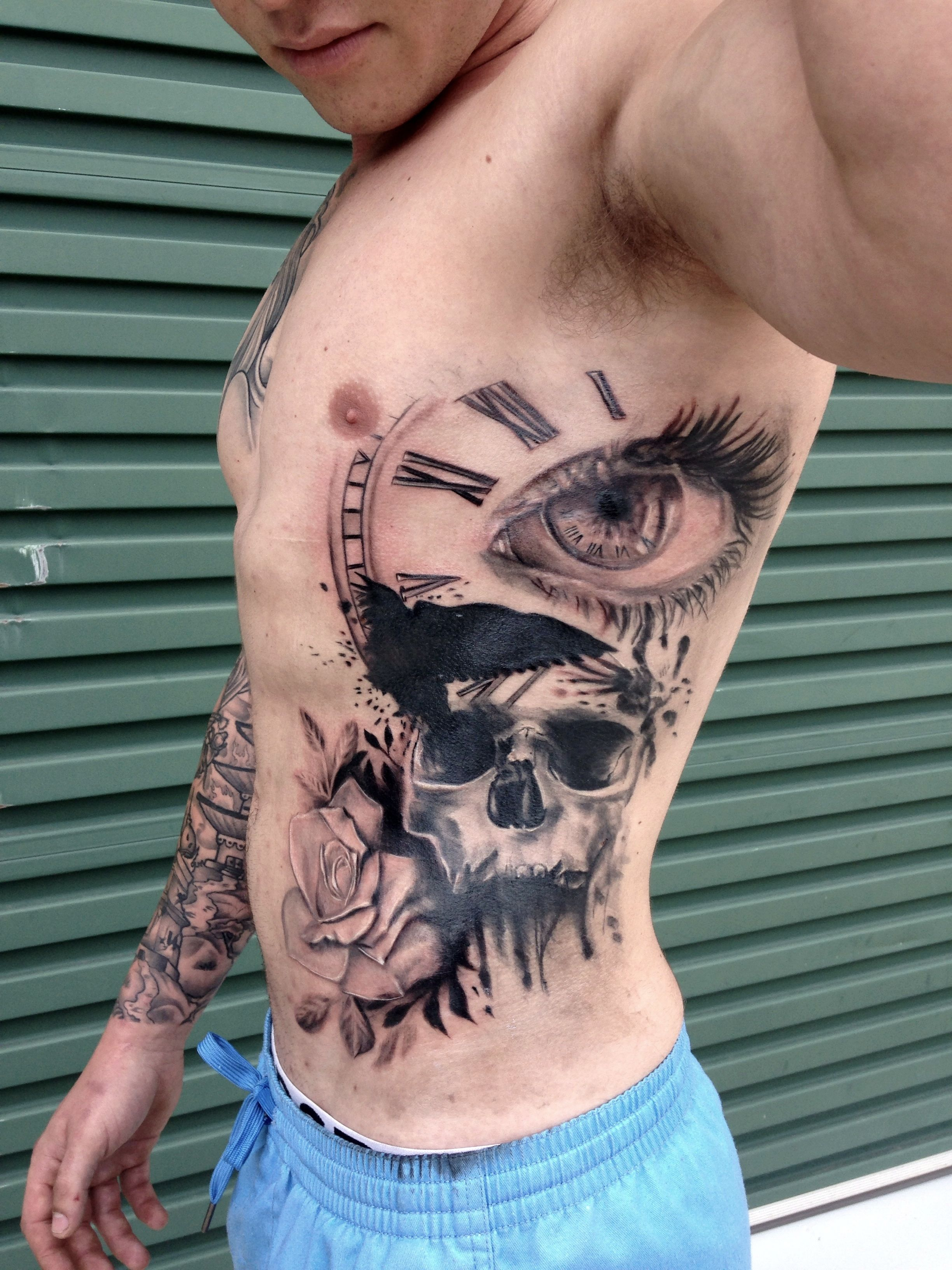 Tattoo Crow Outlines Skull And