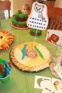 Cheetah cheese and crackers and other food and decoration ...