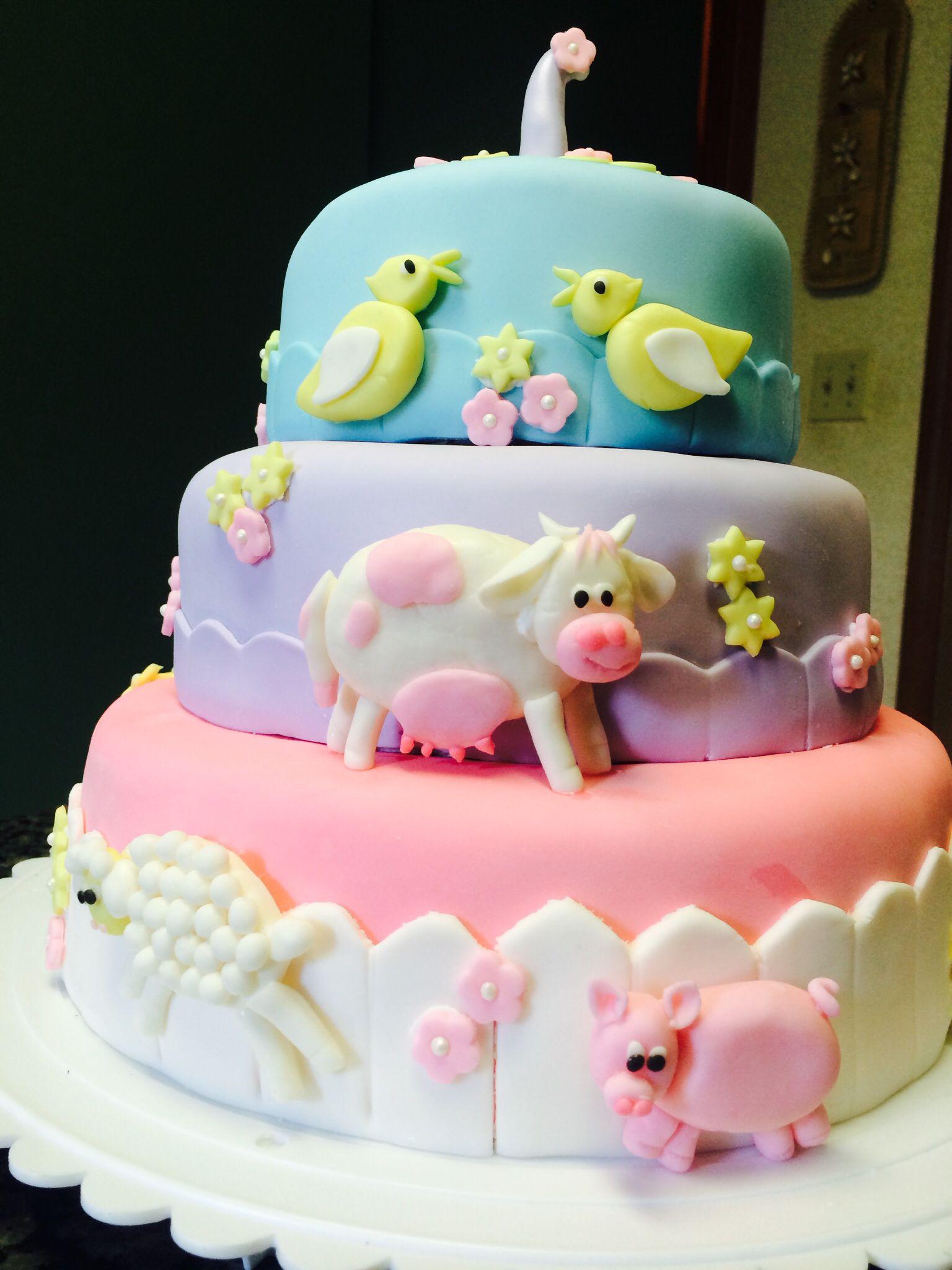 Little Farm Girls 1 St Birthday Farm Animal Cake