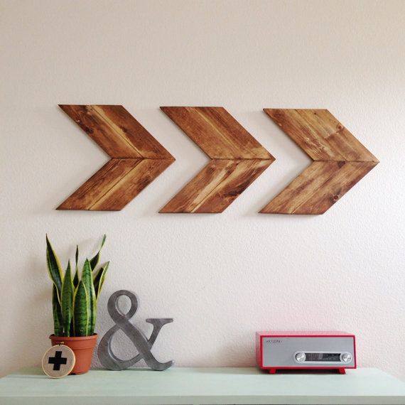 Wood Arrow Wall Art Chevron Home Decor By SparklePower On Etsy