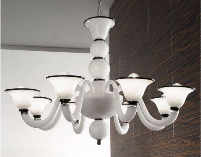 Cristalstrass Canada Cetto 8 Lights Murano Chandelier White Black Collections