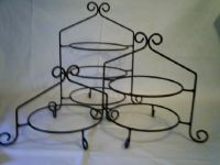 Tiered Buffet Display Stand | Black Iron Pie Plate Holder ...