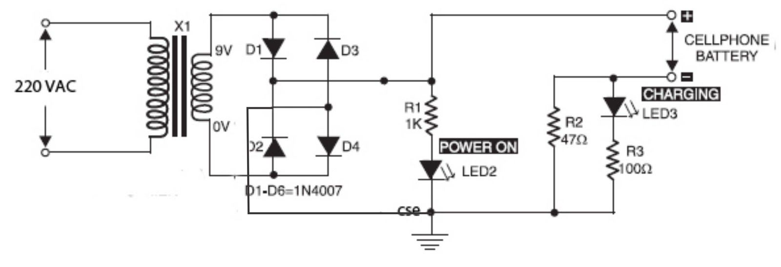 mobile phone battery charger circuit circuit diagram