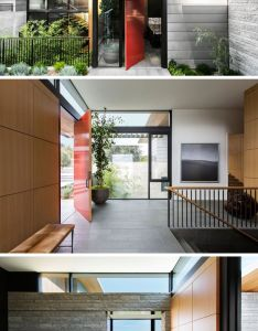 bold red pivoting front door welcomes you to this modern house and once inside also the tiburon bay view by walker warner architects doors rh pinterest