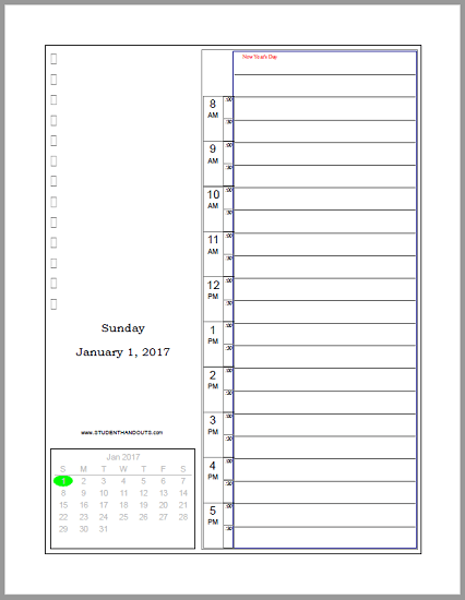 Free Daily Printable Planner 2019