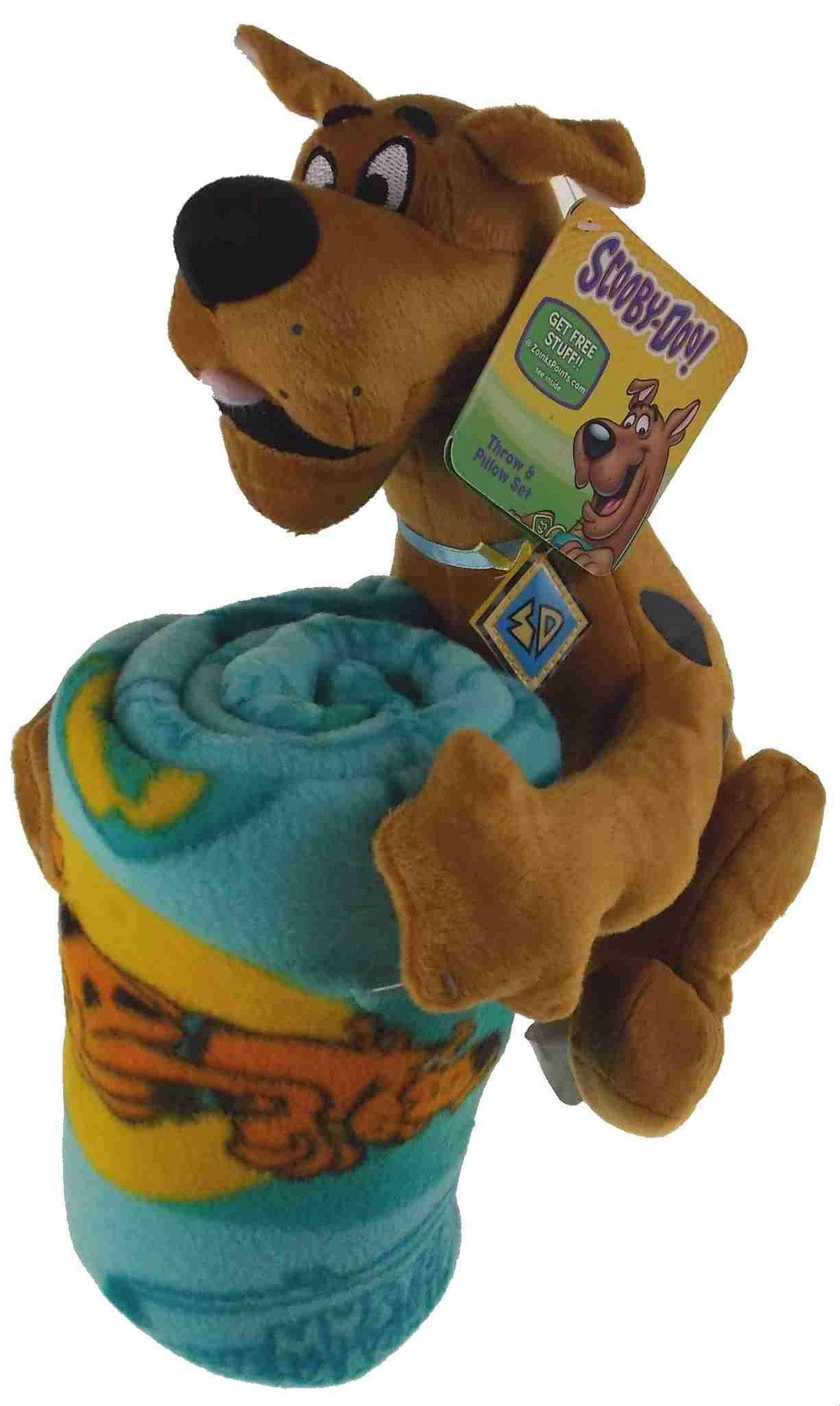 Scooby Doo Throw  Pillow Set Hugger Plush Blanket Soft