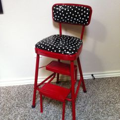 Kitchen Step Stool With Seat Types Of Exhaust Fans Redo On Retro Chair In Red And Black