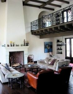 Tapered chimney wrought iron railing beamed ceiling all typical spanish revival elements also colonial furniture hollywood thing home pinterest rh