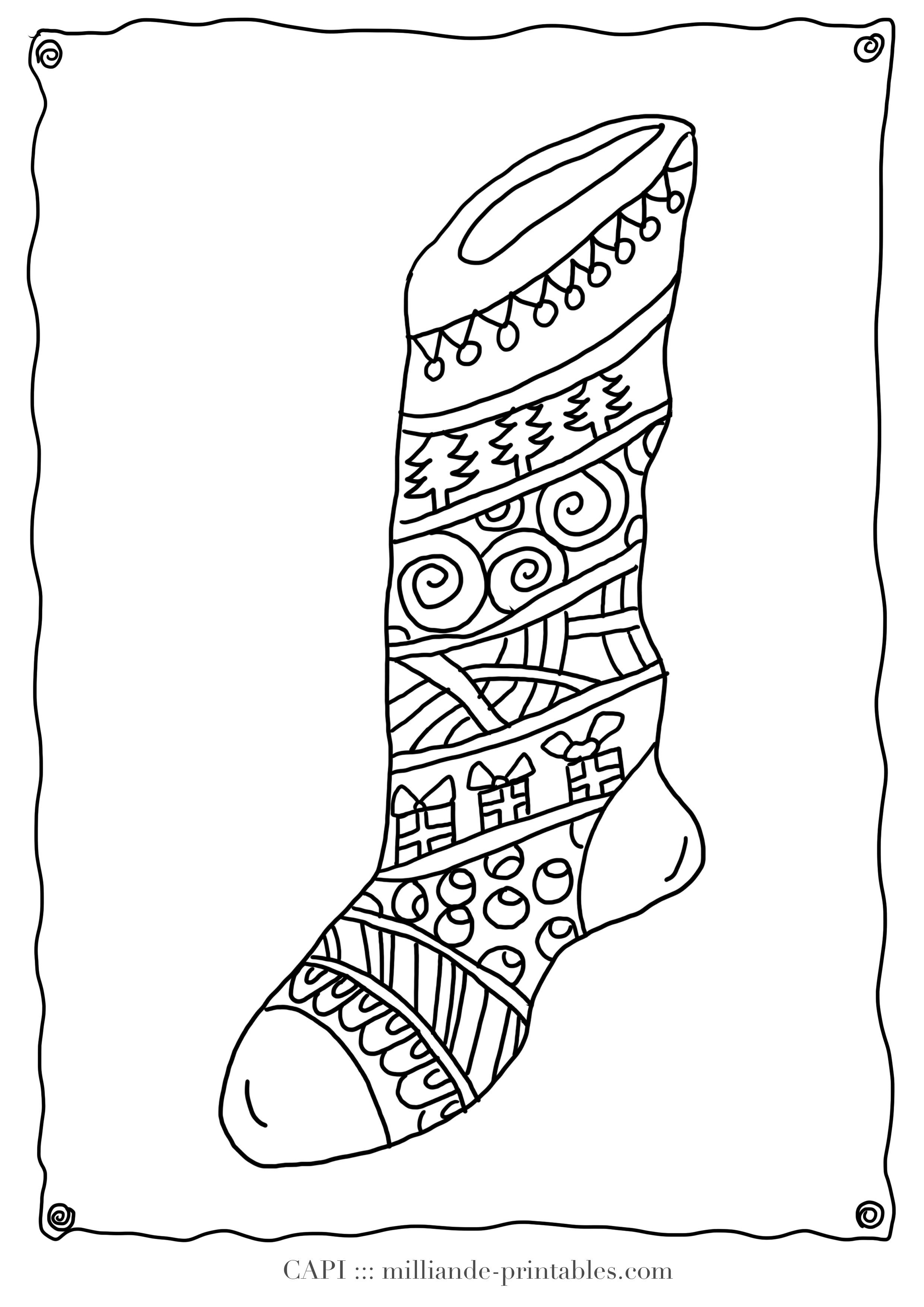 Christmas Coloring Page Stocking Milliande S Original