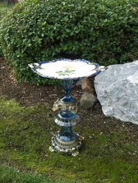 Vintage glass bird bath made with dishes and lamp parts ...