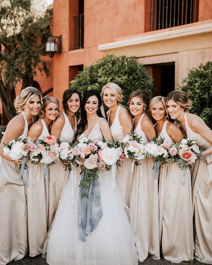 Long beige bridesmaid dresses
