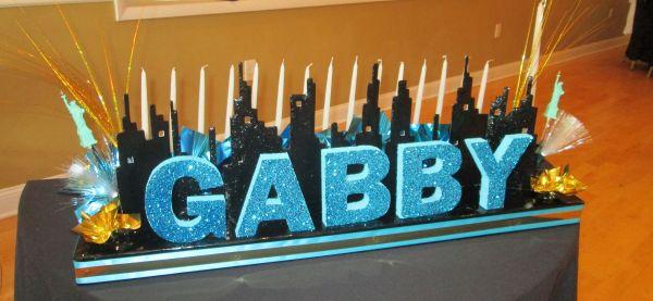 Skyline Candle Lighting Board Nyc Theme Bat Mitzvah