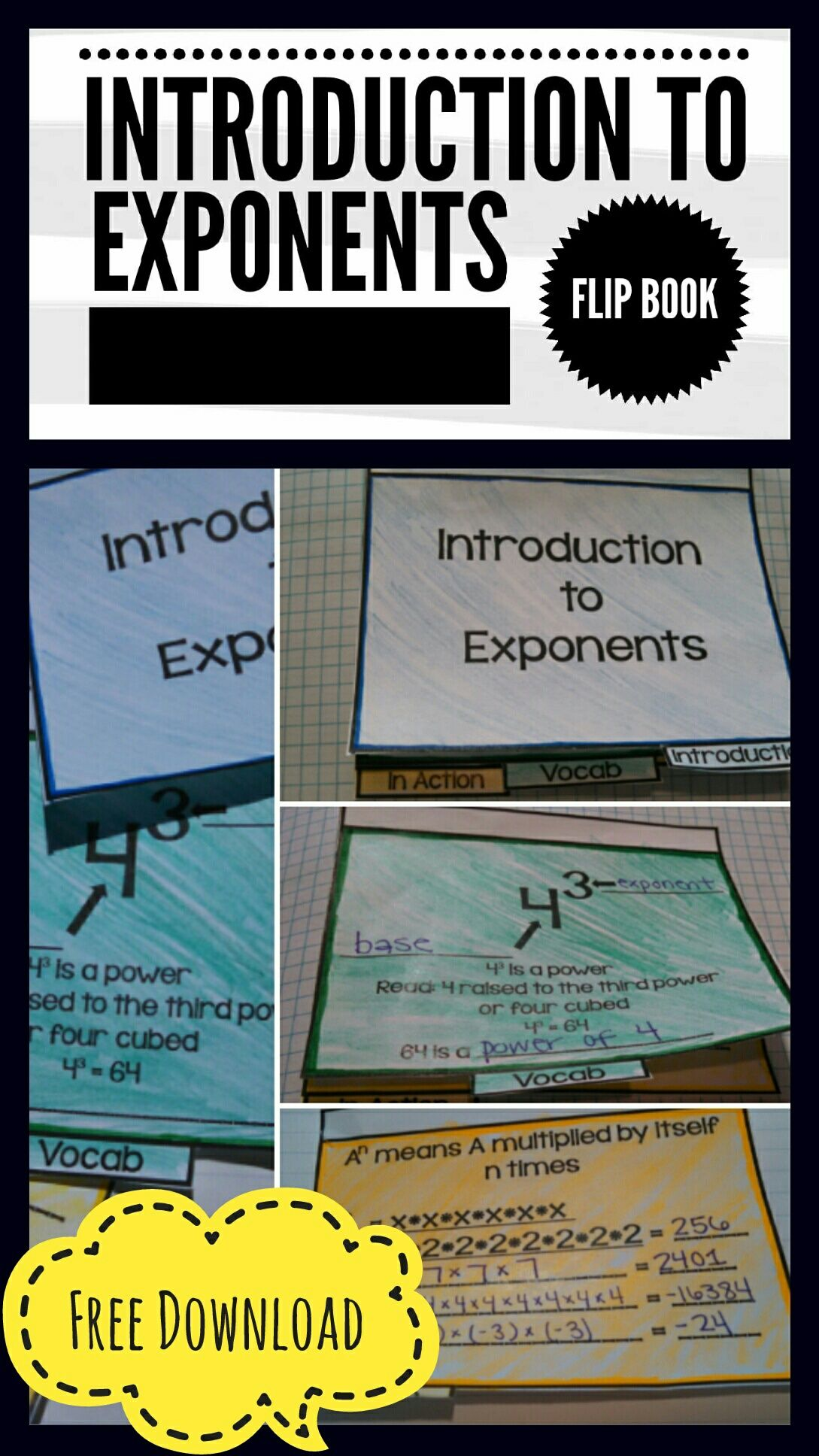 Free Printable Introduction To Exponents Flip Book Easy To Use Directions
