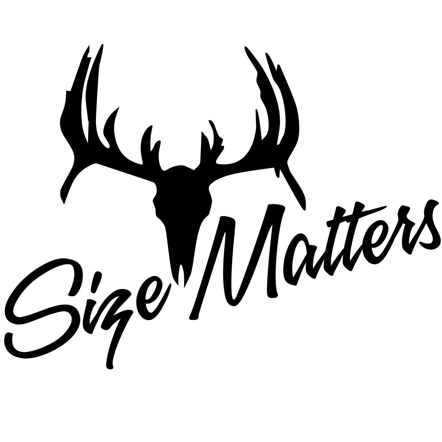 Size Matters Deer Skull Vinyl Sticker