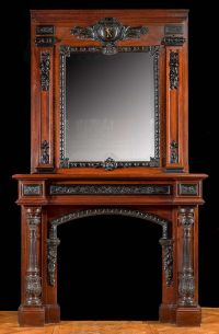 Tall French Baroque Mahogany & Ebony Fireplace Mantel
