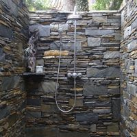 Bathroom , Beautiful Outdoor Shower with Natural Decor and ...