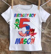 Boys PJ Masks Birthday Shirt | PJ Mask Birthday Party ...