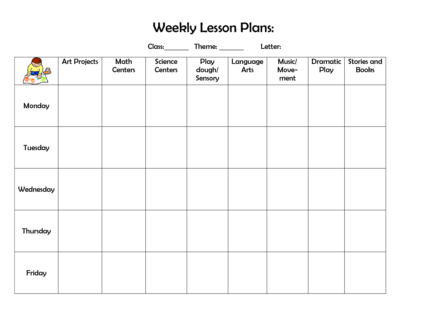 Infant Blank Lesson Plan Sheets Weekly Lesson Plan