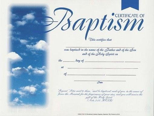 Baptism Certificates With Clouds Package Of 6 Baptism Certificate Pinterest Certificate