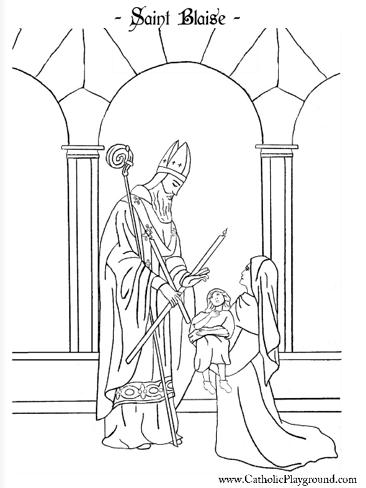 Beautiful Saint Blaise Catholic coloring page. Feast day