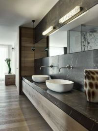 vessel sinks, countertop and backsplash slab, wall