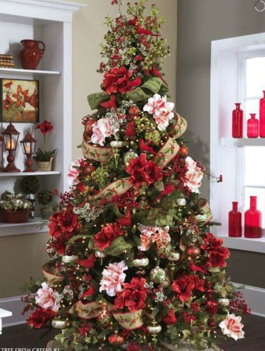Flower Theme Christmas Trees Decorating Ideas Pictures 23