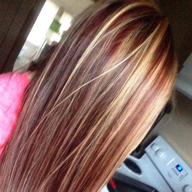 Caramel hair color with red and blonde highlights the best hair red blonde highlights in brown hair pmusecretfo Choice Image