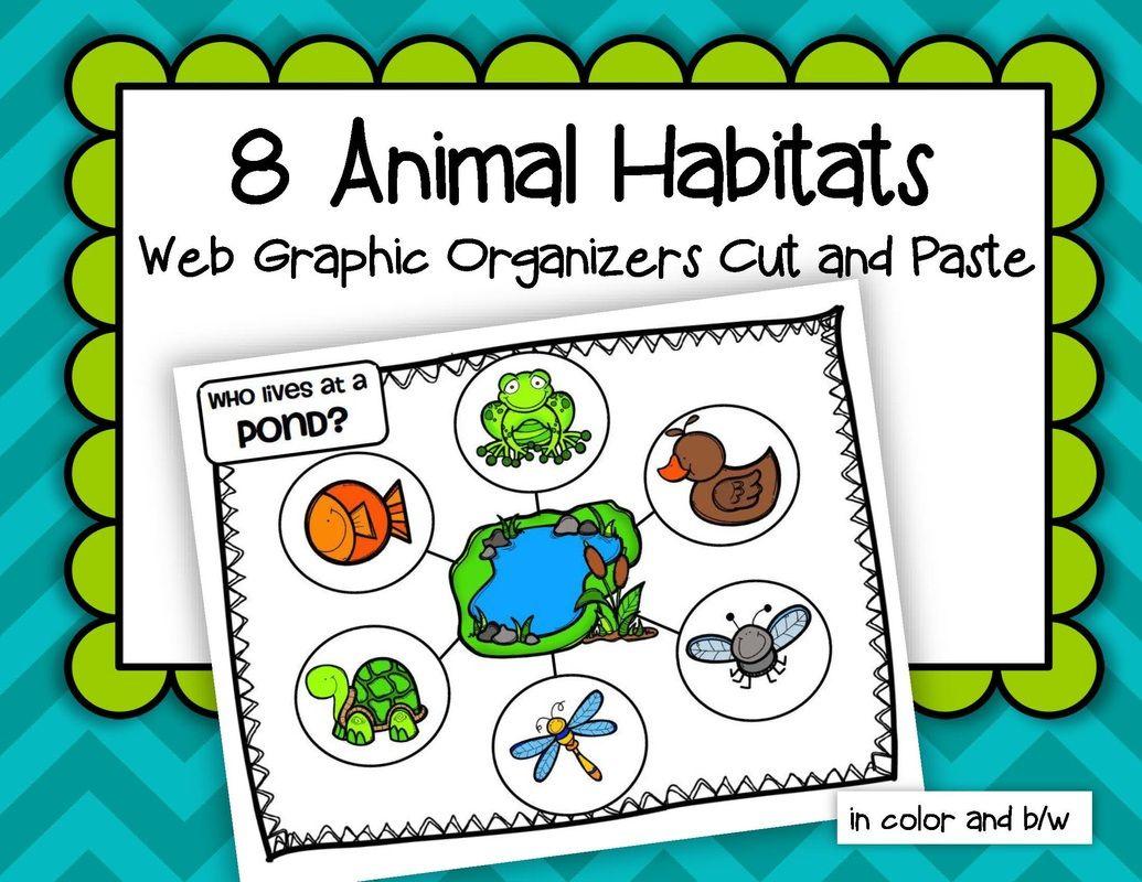 Animals Habitats 8 Web Graphic Organizers Cut And Paste School