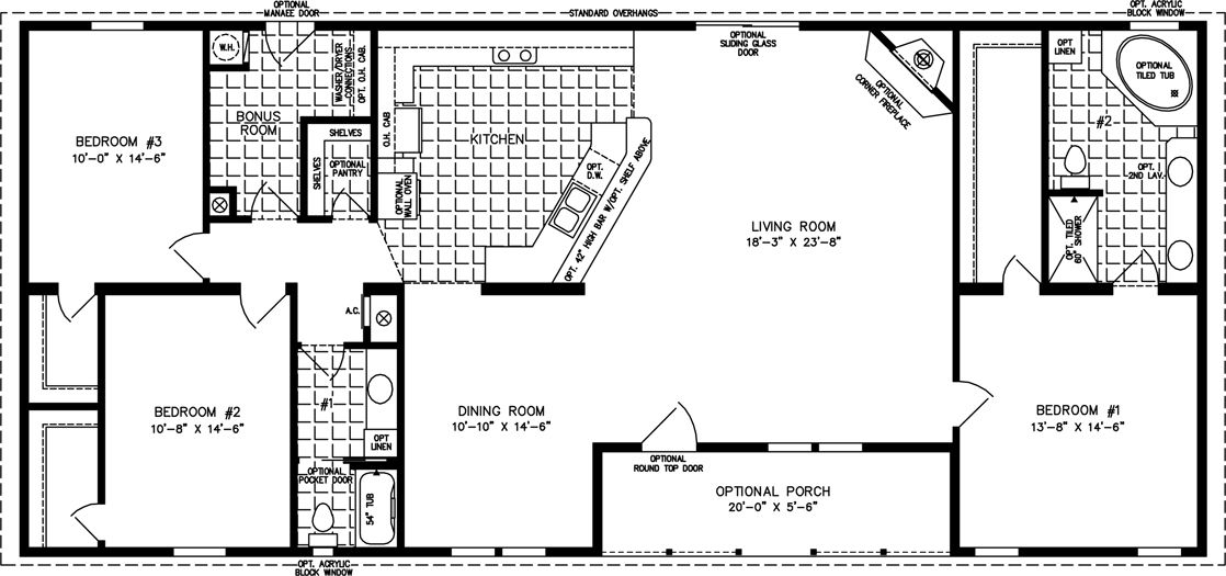 2000 Sq FT Floor Plans  The TNR46816W  Manufactured