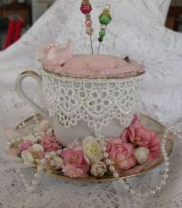 teacup pincushion - may like this one better, at least i ...
