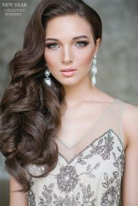 one side half up wavy wedding hairstyle for long hair ...