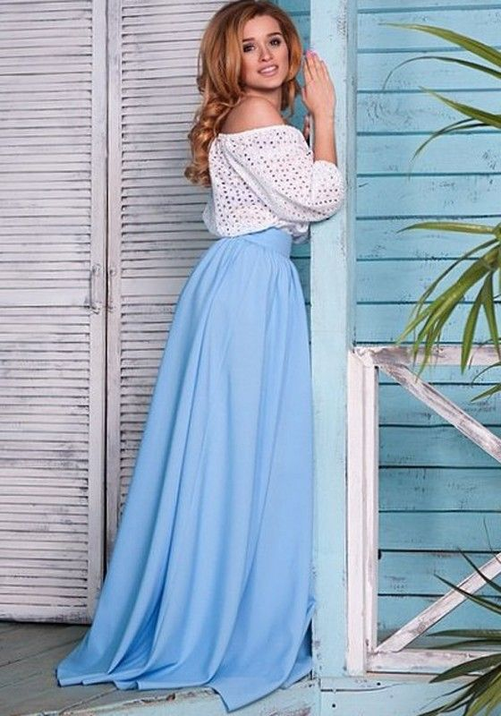 Light Blue Plain Pleated Floor Length Skirt  Dress Style
