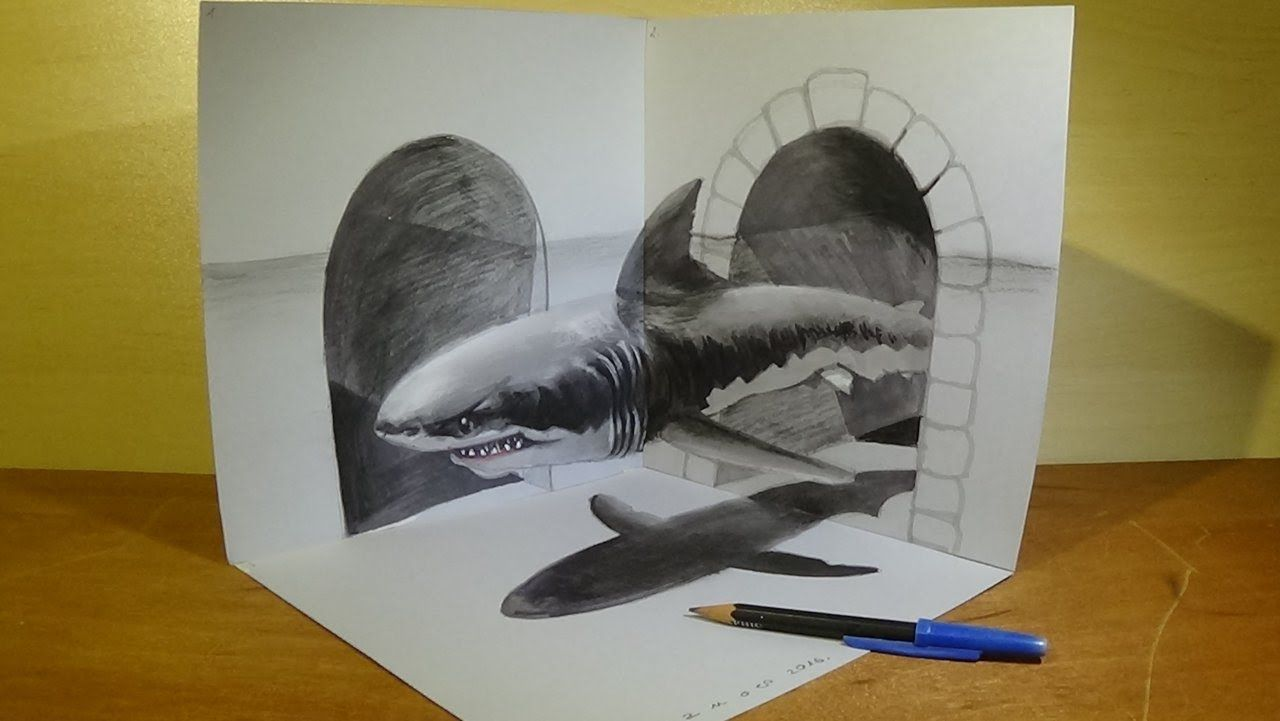 Great White Shark, Trick Art In 3d, Drawing An Amazing