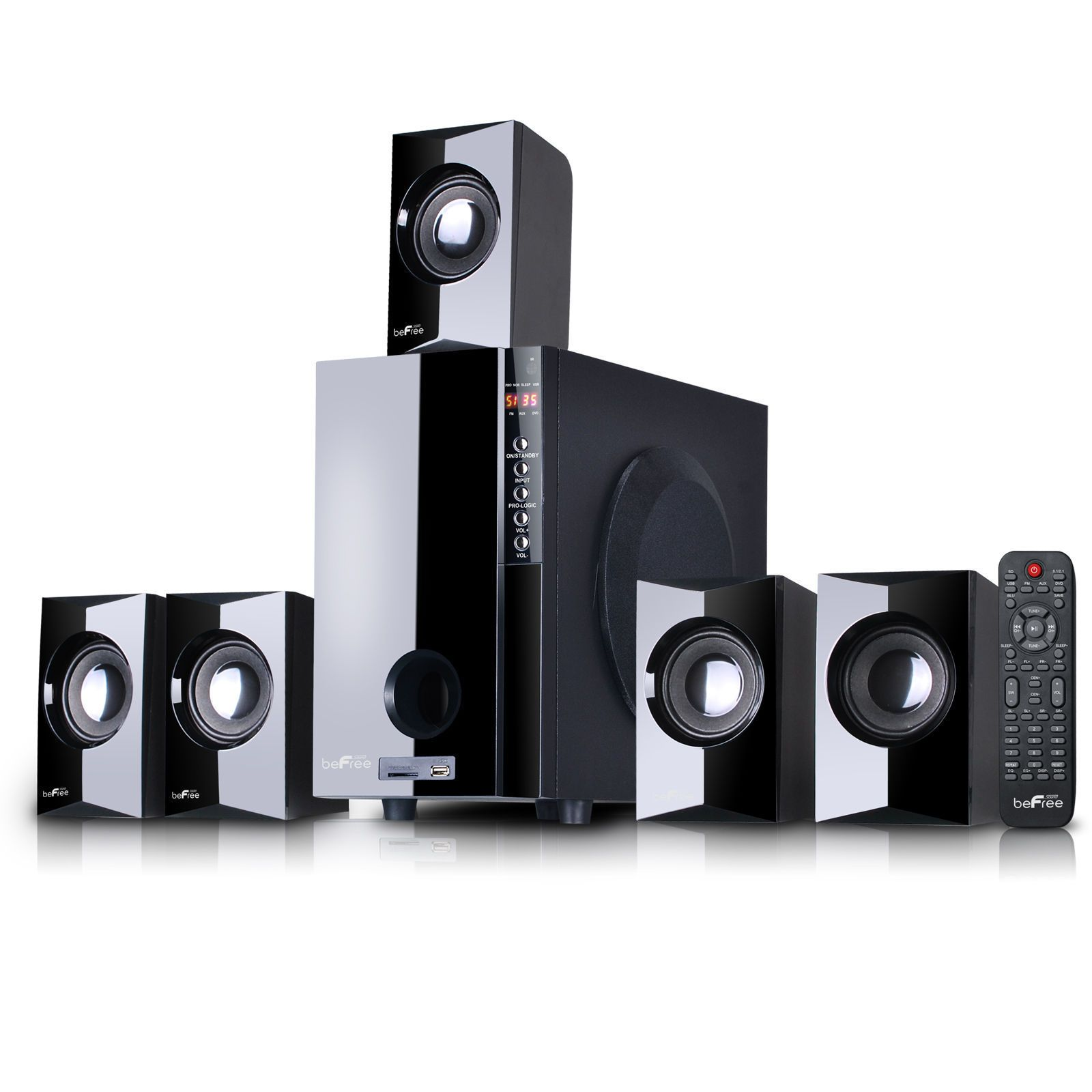 Befree sound channel surround bluetoot speaker system amplifier  speakers output frequency   features usb sd fm bluetooth remote also home theater systems rh pinterest