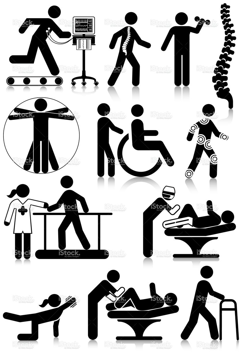 Vectored standard pictograms of physiotherapy staff and
