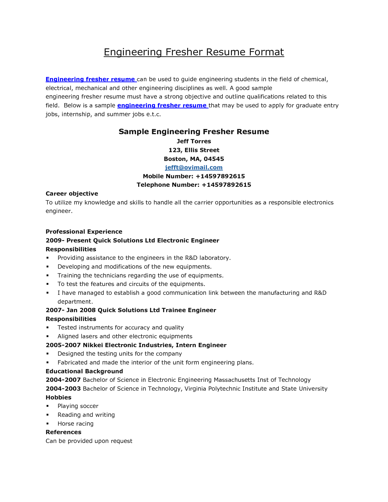 Engineering Resume Samples Resume Format For Engineering Students Http Www